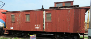 Damaged caboose in 2018 prompting restoration