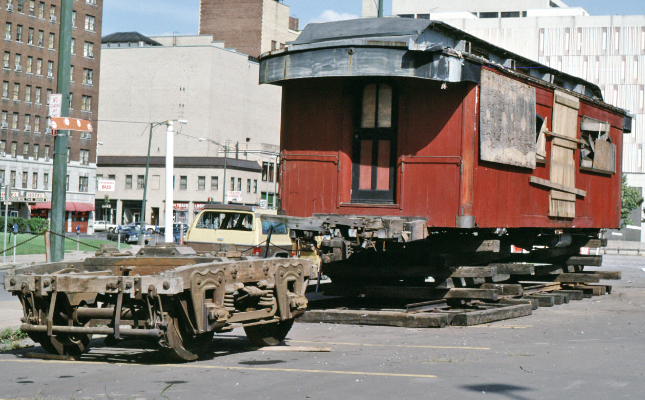 Baggage car ready for transport in July, 1984